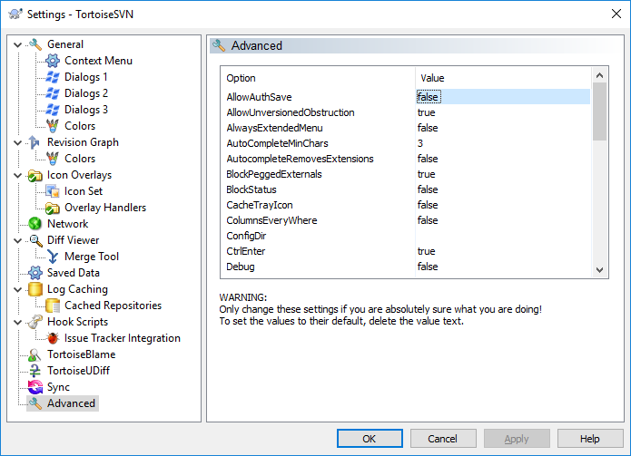 Turn off password saving in TortoiseSVN GUI