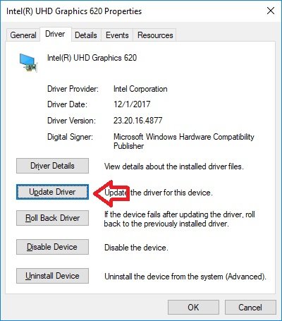 Intel Device Manager Properties