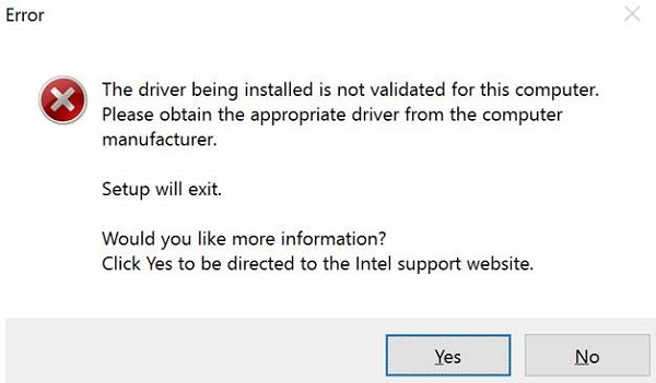 Intel driver install error.