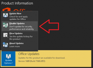 Disable Office 365 Updates