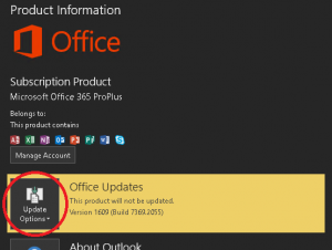 Outlook Update Options