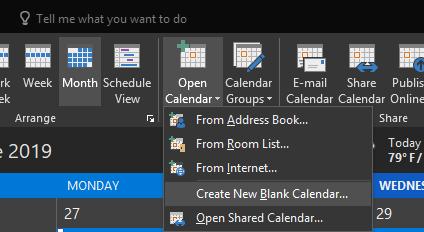 Create New Blank Calendar