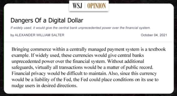 Dangers of a digital dollar